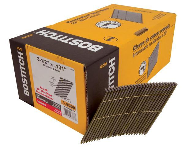 Bostitch Stanley S16D131-FH 2,000 Count 16d Smooth Shank Wire Collated Stick Framing Nails