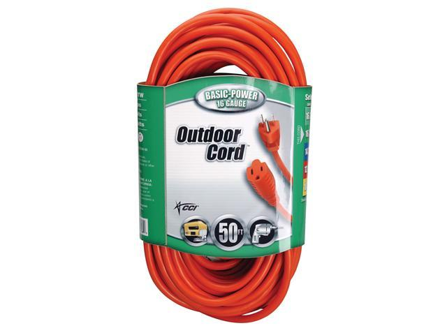 Coleman Cable 02308 50' 16/3 Round Orange Extension Cord