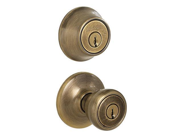 Kwikset 96900-254 Antique Brass Tylo Entry Knob with Single Cylinder Deadbolt Combo