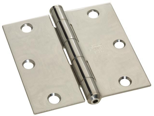 "STANLEY NATIONAL HARDWARE 3.5"" X 3.5"" Stainless Steel Square Corner Hinges"