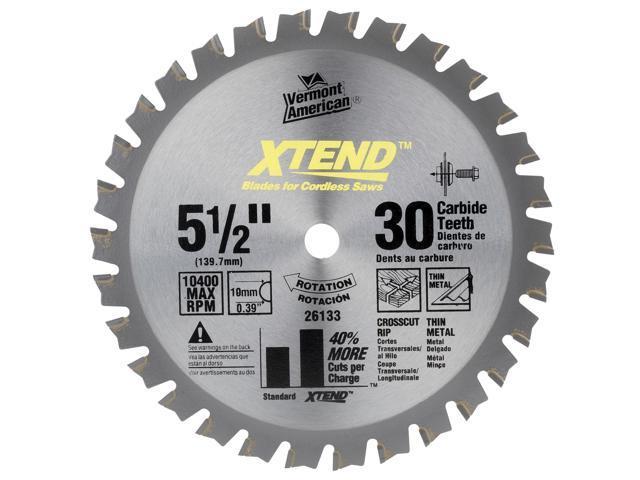 "Vermont American 26133 5-1/2"" XTEND™ Cordless Series Carbide Tipped Circular Saw Blade"