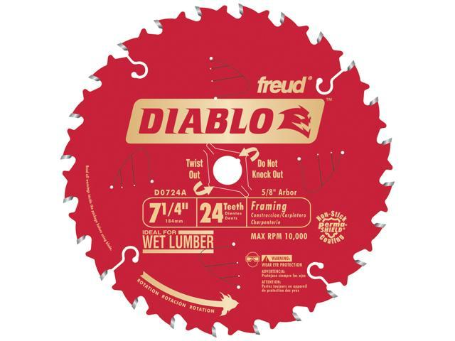 """Freud D0724A 7-1/4"""" 24T Diablo™ Circular Saw Framing Blade"""
