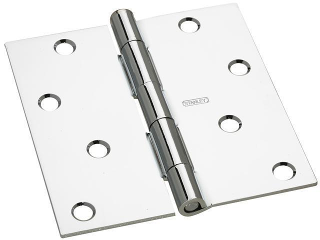"STANLEY NATIONAL HARDWARE 2 Count 4"" Bright Chrome Interior Decor™ Square Corner Door Hinge"