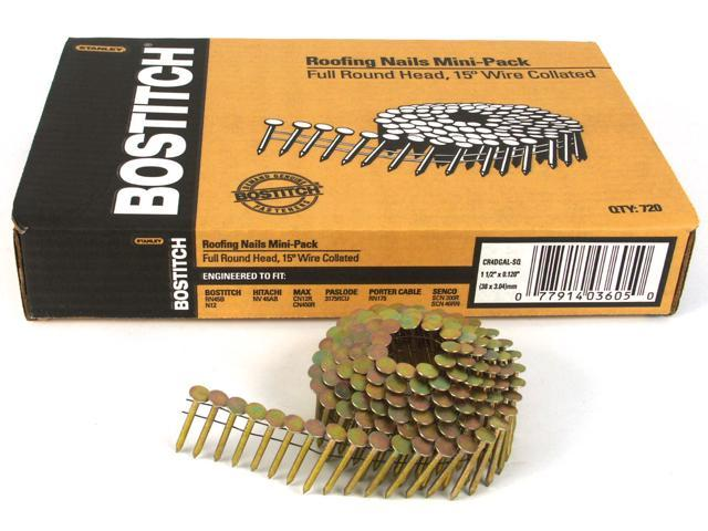 "Bostitch Stanley CR4DGAL 720 Count 1-1/2"" Galvanized 15° Wire Collated Roofing Nails"