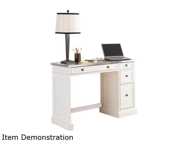 Home Styles 5002-792 Traditions White Utility Desk with a Stainless Steel Top