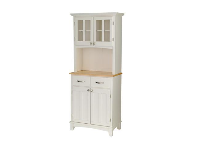 Home Styles 5001-0021-12 White Buffet Server with Natural Wood Top and Hutch