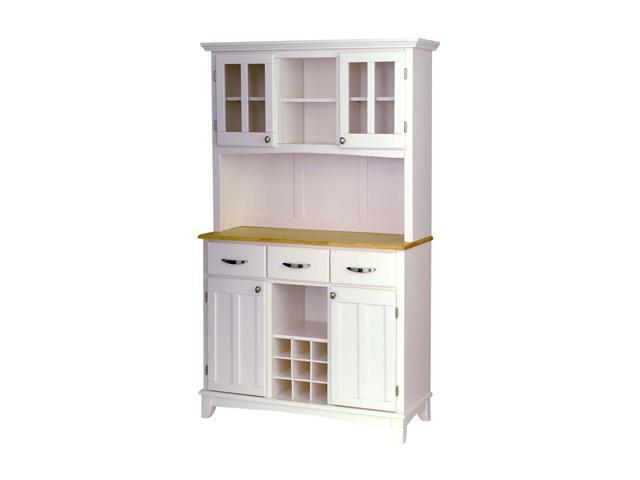 Home Styles 5100-0021-12 White Buffet Server with Natural Wood Top and White Hutch