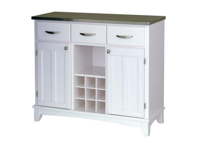 Home Styles 5100-0023 White Buffet Server with Stainless Steel Top