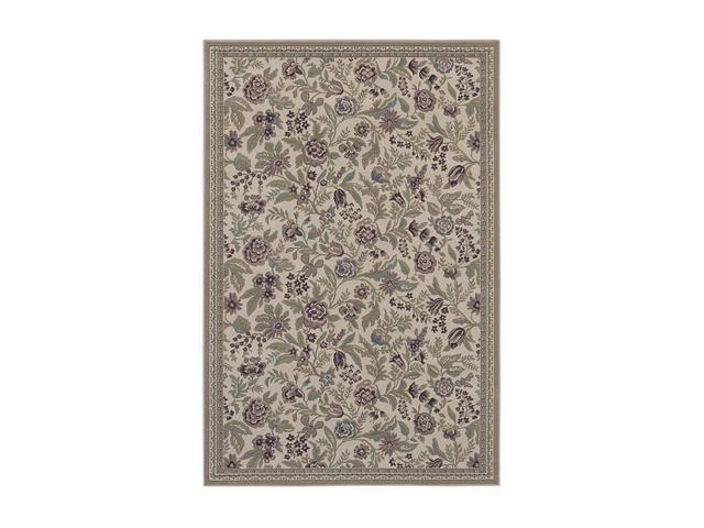 Shaw Living Woven Expressions Gold English Floral Area Rug Ivory 9' 2