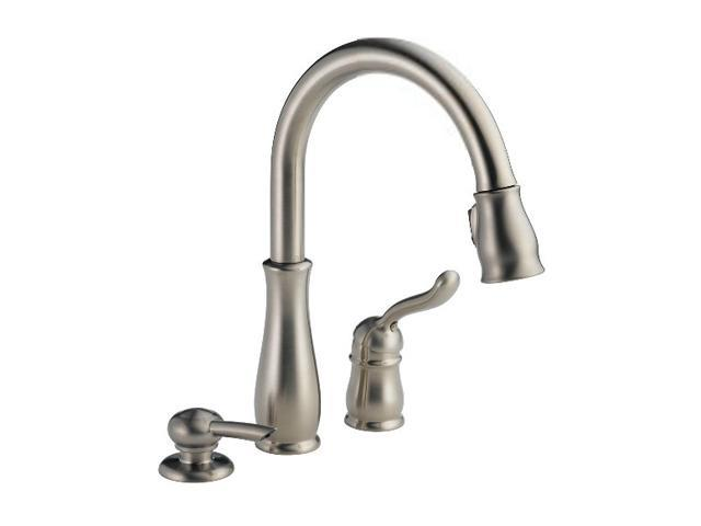 DELTA 978-SSSD-DST Leland Single Handle Pull-Down Kitchen Faucet with Soap Dispenser Stainless Steel