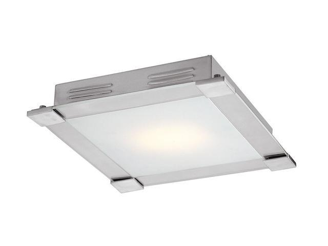 Access Lighting Carbon 1 Light Brushed Steel Finish w/ Opal Glass Brushed Steel Flush Mounts