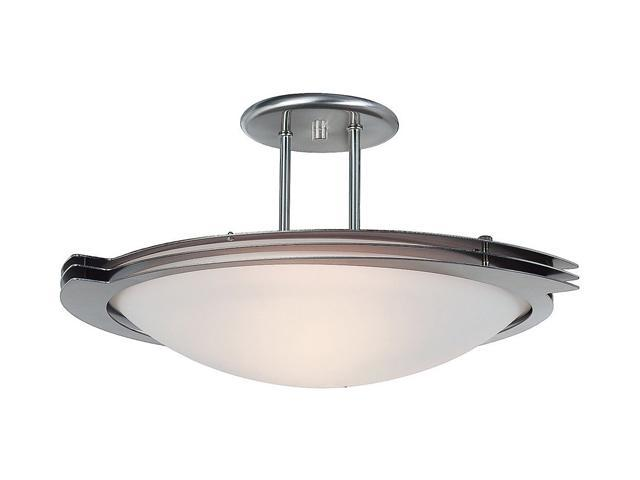 Access Lighting Triton 1 Light Brushed Steel Finish w/ Frosted Glass Brushed Steel Semi Flush