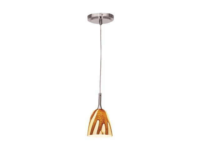 Access Lighting Delta Line Voltage Pendant with Safari Glass - 1 Light Brushed Steel Finish w/ Amazon Glass