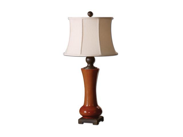 Uttermost Matthew Williams Sandia Table Lamp Crackled, Tomato Red Porcelain with Chocolate Bronze Details.