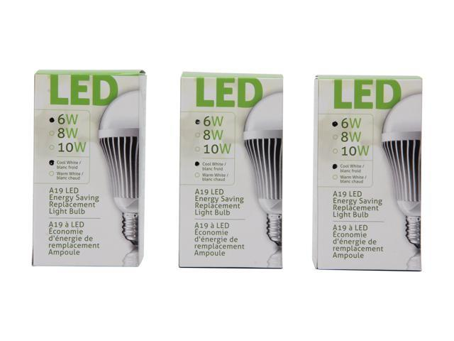 Aluratek ALB6C 40 Watt Equivalent Cool White A19 LED Light Bulb (3 Pack)