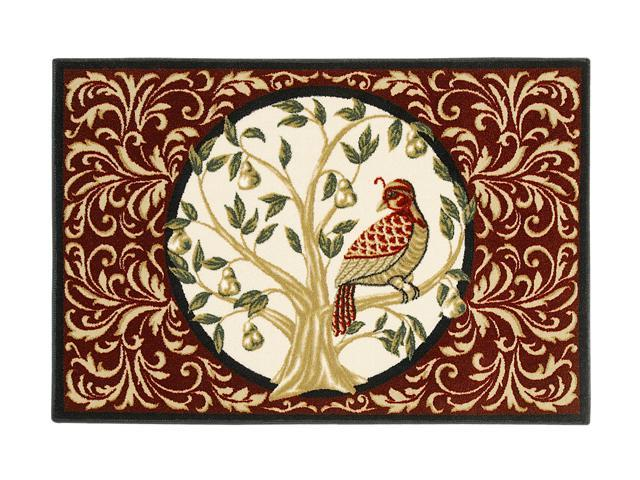 "Shaw Living Holiday Collection Partridge In a Pear Tree Area Rug Multi 2' 7"" X 3' 10"" 3P17300103XM"
