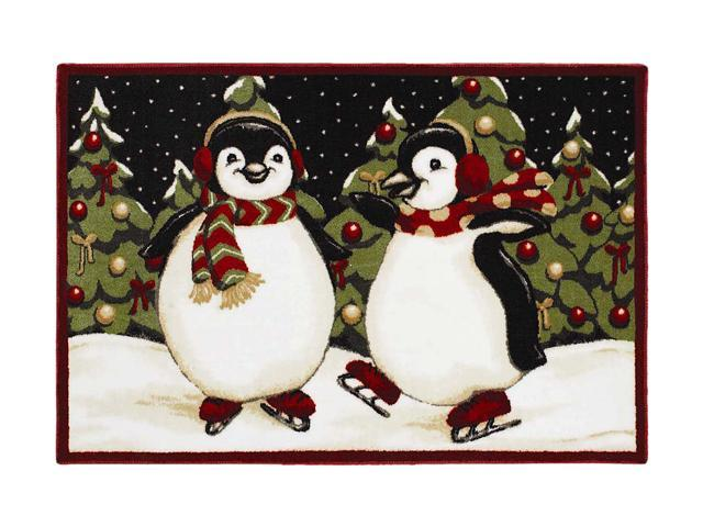 Shaw Living Holiday Collection Penguins Area Rug Multi 2' 7