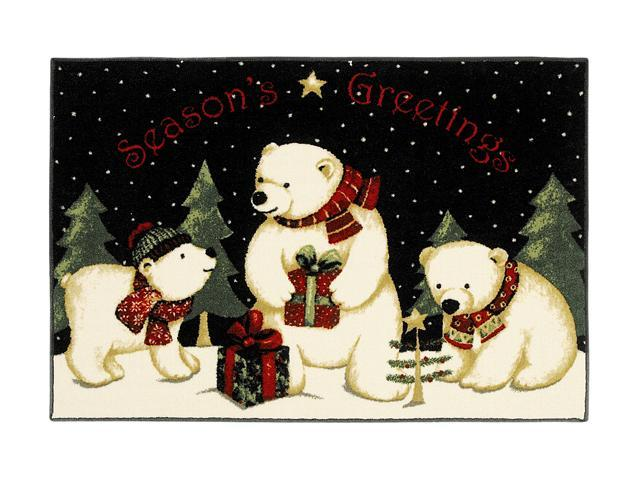 Shaw Living Holiday Collection Polar Bears Area Rug Multi 2' 7