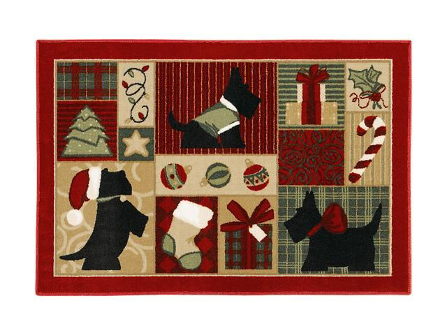 "Shaw Living Holiday Collection Scotties Area Rug Multi 2' 7"" X 3' 10"" 3P17300109XM"