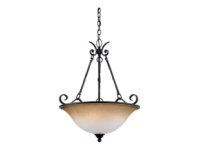 Quoizel JF2822HD Jennifer 4-Light Chandelier with Amber Marble Sunset Glass Hartford Bronze