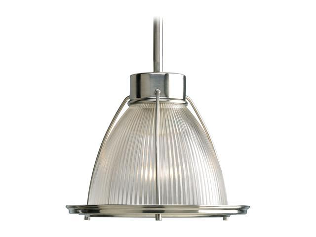 Progress Lighting P5163-09 1-Light Stem Hung Mini-Pendant with Clear Prismatic Glass