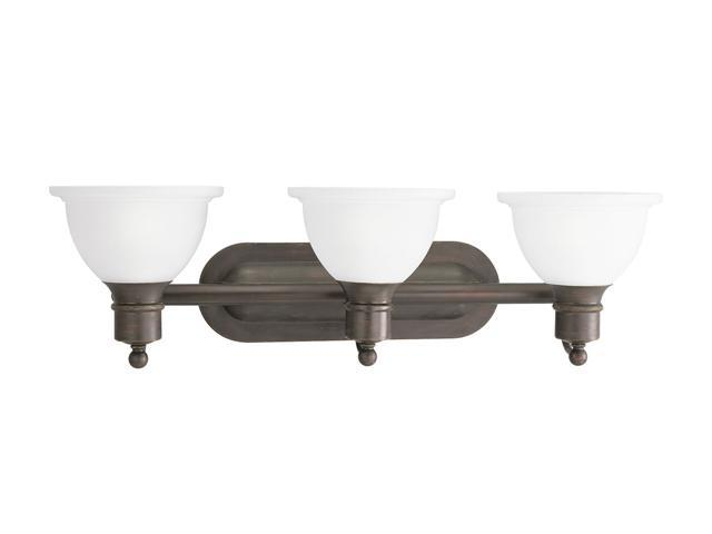 Progress Lighting 3-Light Wall Bracket with White Etched Glass Antique Bronze 3-Light Wall Bracket
