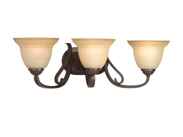 Progress Lighting Forged Bronze 3-Light Bath Bracket with Tea Stain Etched Glass