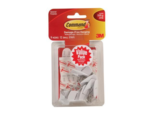 3M Command 17067-VP Small Wire Hooks Value Pack, White, 9 Hooks, 12 Strips