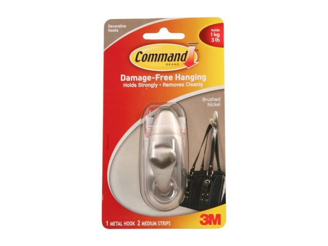 3M Command FC12-BN Forever Classic Brushed Nickel Medium Metal Hook, 1 Hook, 2 Strips