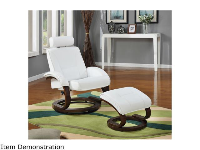Primo International Total Comfort Swivel Recliner  and ottoman with Natural bentwood base in Snow Bonded Leather match