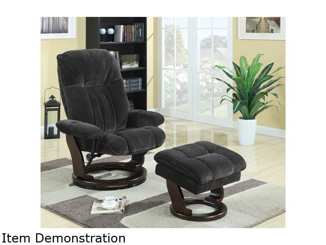 Primo International Kathy Ireland - Acafe Swivel recliner chair with Bentwood base and ottoman