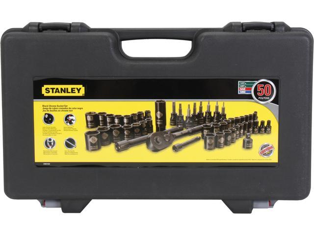 stanley tools 50pc black chrome socket set. Black Bedroom Furniture Sets. Home Design Ideas