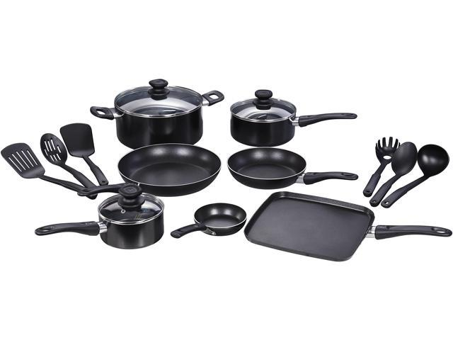 T-Fal WearEver Complete Nonstick Oven Safe Easy to Clean Cookware Set, 16-Piece, Black