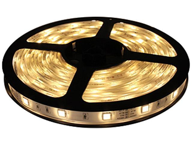 HitLights Weatherproof Warm White SMD3528 LED Light Strip - 300 LEDs, 16.4 Ft Roll, Cut to Length - 3000K, 149 Lumens per ...