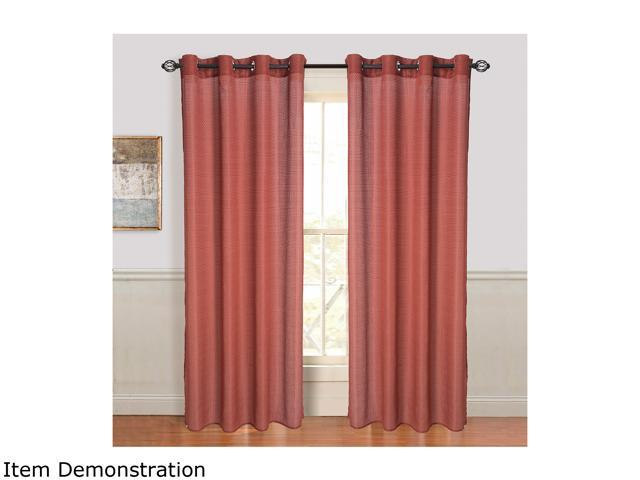 Lavish Home Olivia Jacquard Grommet Curtain Panel - Red