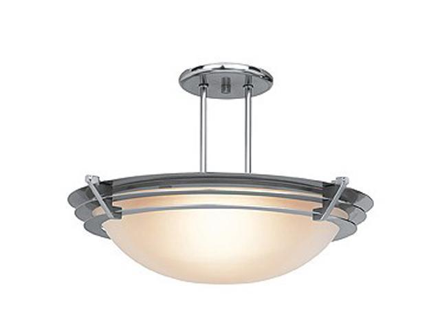 Access Lighting Saturn Semi - 1 Light Brushed Steel Finish w/ Frosted Glass Brushed Steel Semi Flush