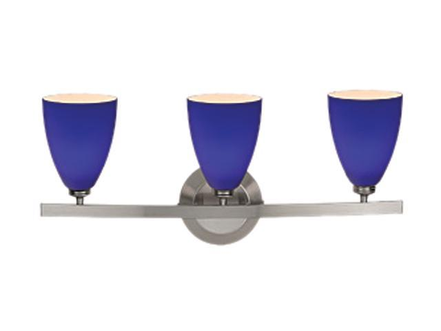 Blue Glass Vanity Light : Access Lighting Sydney Wall & Vanity- 3 Light Matte Chrome Finish w/ Cobalt Blue Glass Matte ...