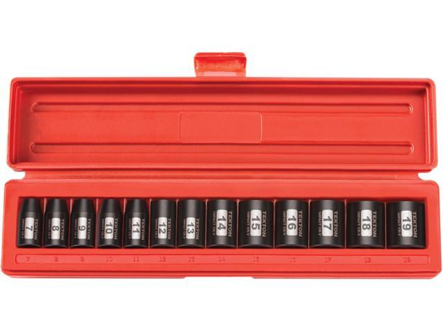 TEKTON 47916 3/8 in. Drive Shallow Impact Socket Set (7-19mm) 12 pt. Cr-V