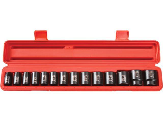 TEKTON 48171 1/2 in. Drive Shallow Impact Socket Set (11-32mm) 12 pt. Cr-V