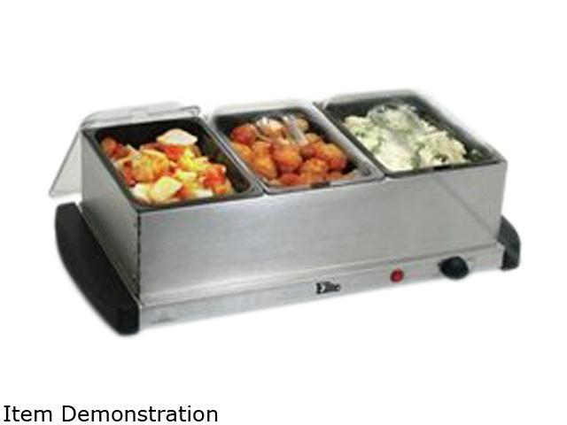 MaxiMatic Elite Gourmet 3-Tray 1-1/2-Quart Mini Buffet Server, Stainless