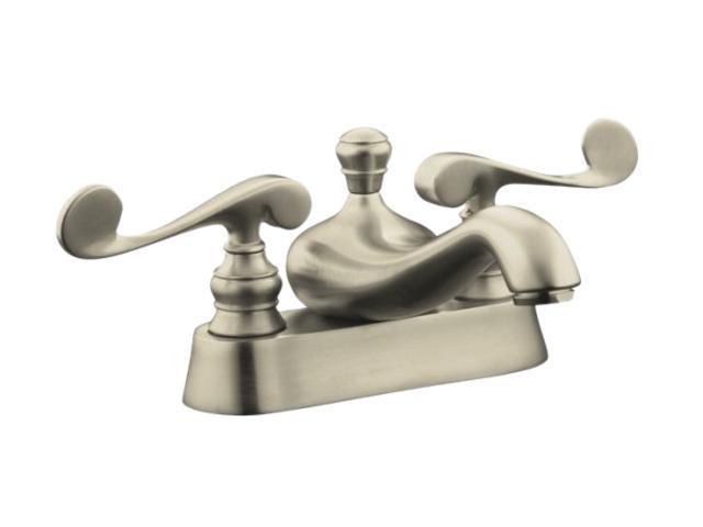KOHLER K-16100-4-BN Revival Centerset Lavatory Faucet With Scroll Lever Handles
