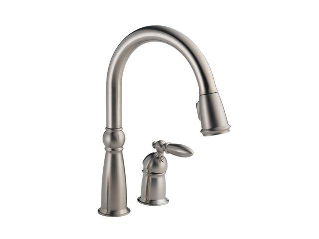DELTA 955-SS-DST Victorian Single Handle Pull-Down Kitchen Faucet Stainless