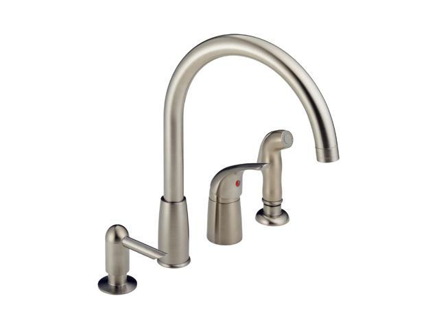 PEERLESS P188900LF-SSSD Single Handle Widespread Kitchen Waterfall with Soap Dispenser Stainless Steel
