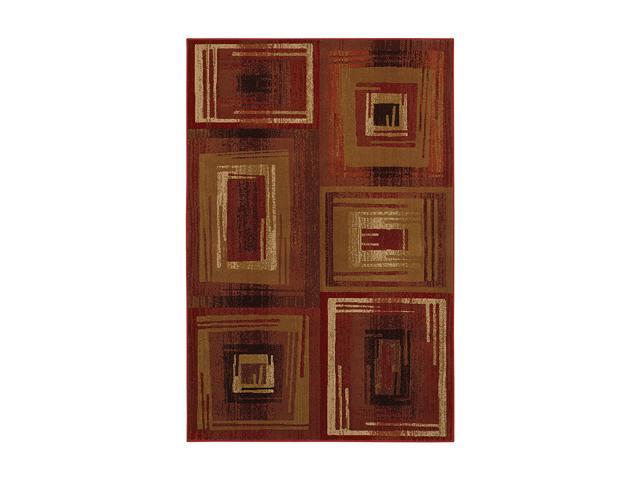 Mohawk Home Pinnacle Pinnacle Vibrations Red Rug Brown 94