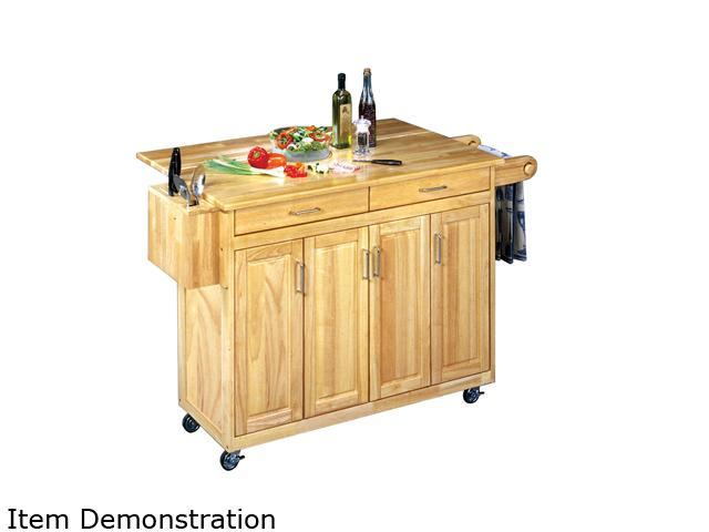 Home Styles 5023-95 Natural Breakfast Bar Kitchen Cart with Wood Top