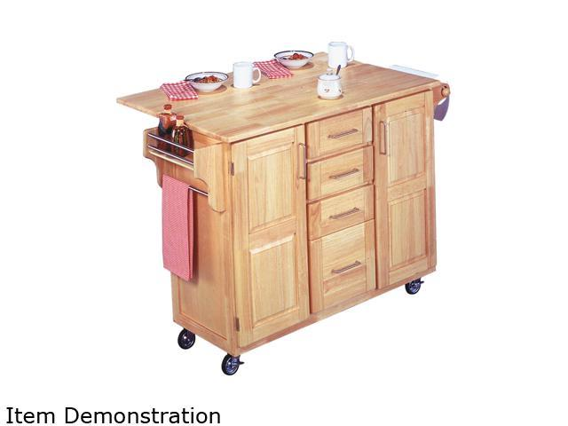Home Styles 5089-95 Natural Breakfast Bar Kitchen Cart with Wood Top