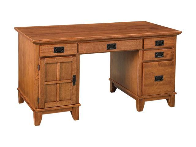 Home Styles 5180-18 Arts & Crafts Pedestal Desk Cottage Oak Finish