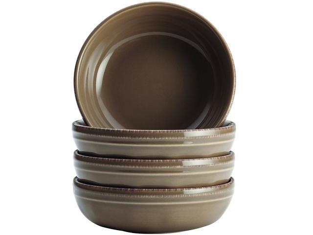 Rachael Ray Cucina Dinnerware 4-Piece Stoneware Fruit Bowl Set in Mushroom Brown