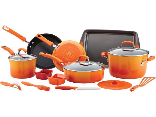Rachael Ray Hard Enamel Nonstick 16-Piece Cookware Set, Gradient Orange