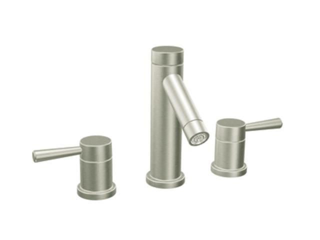 Moen T6110BN Euro Modern Level Brushed nickel two-handle high arc bathroom faucet